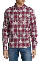 Mostly Heard Rarely Seen Star Plaid Cotton Button-Down Shirt