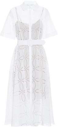 Oscar de la Renta Cotton-voile eyelet midi dress