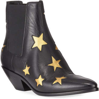Saint Laurent West Metallic Star Leather Booties
