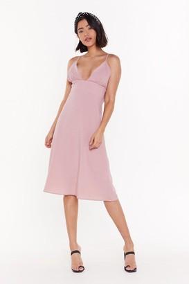 Nasty Gal Womens Deep an Open Mind Plunging Linen Dress - Blush