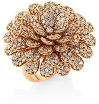 Hueb Secret Garden 18K Rose Gold & Diamond Flower Ring