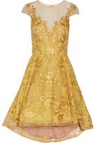 Marchesa Embroidered Metallic Tulle Mini Dress