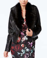 Bar III Faux-Fur-Trim Moto Jacket, Only at Macy's