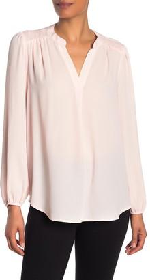 Gibson Pintuck Shoulder Long Sleeve Woven Shirt
