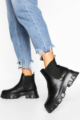 boohoo Chunky Cleated Platform Chelsea Boots