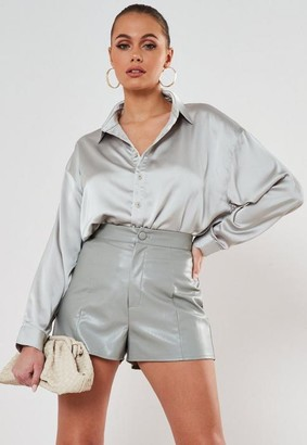 Missguided Faux Leather Button Shorts
