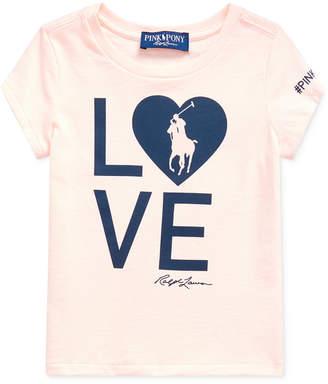 Polo Ralph Lauren Toddler Girls Pink Pony Love Heart Jersey T-Shirt