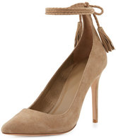 Joie Angelynn Suede Ankle-Wrap Pump, Gesso
