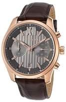 Wittnauer Wn1016 Men's Chrono Brown Genuine Leather Gunmetal Dial Rose-Tone Ss Watch