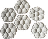 One Kings Lane Vintage White Majolica Oysters Plates,S/6