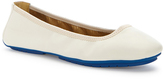 Me Too White Tru Blu Leather Flat