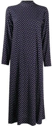 Ganni Heart-Print Mid-Length Dress