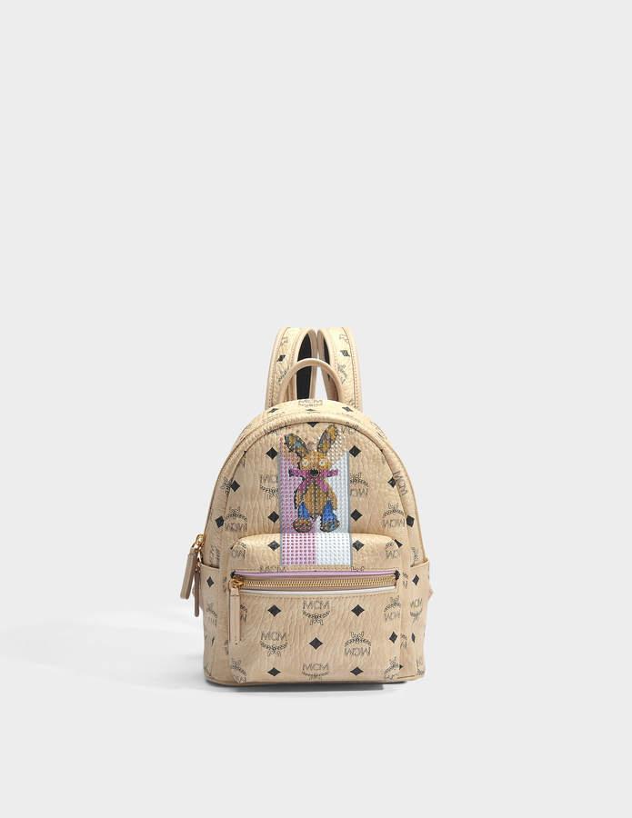 MCM Rabbit Mini Backpack in Beige Visetos