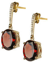 Town & Country 14K Gold Garnet Earring with 0.05 Total Carat Weight Diamonds