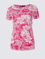 Marks and Spencer Pure Cotton Floral Print Round Neck T-Shirt
