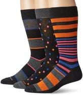 Steve Madden Men's 3 Pack Premium Fashion Crew-Dot Stripe
