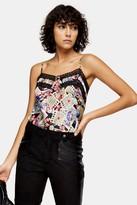 Topshop Womens Idol Tarot Card Print Lace Cami - Multi