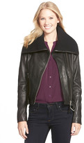 Mackage Knit Collar Belted Leather Jacket
