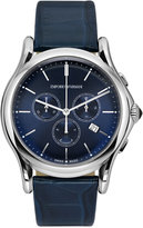 Emporio Armani Men's Swiss Chronograph Blue Leather Strap Watch 44mm ARS4010