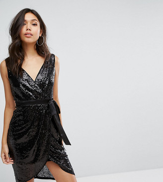 TFNC Wrap Front Sequin Midi Dress With Satin Waist Band-Black