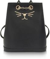Charlotte Olympia Feline Black Leather Petit Backpack