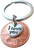 JewelryEveryday I Love You Heart Charm Layered over 2008 Penny Keychain, 8 Year Anniversary Gift