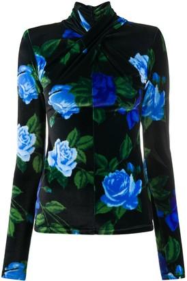 Richard Quinn Floral Print Tie Neck Blouse