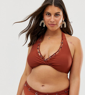 Simply Be halterneck bikini top with ring detail in rust-Red