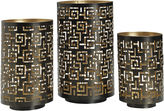 Asstd National Brand Luminaries Black Greek Key 3-pc. Candle Holder Set