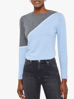 Mint Velvet Colour Block Jumper, Light Blue