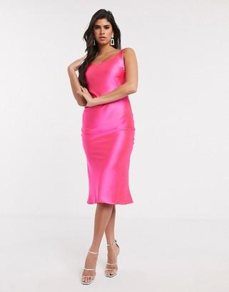 Asos DESIGN scoop neck midi satin slip dress in hot pink