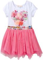 Baby Sara Flower Print Top & Hankie Mesh Bottom Dress (Baby, Toddler, & Little Girls)