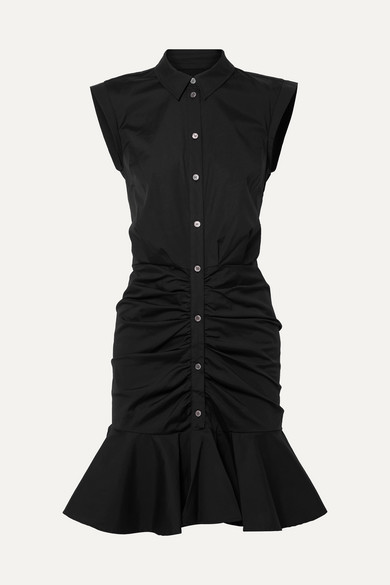 Veronica Beard Bell Ruched Stretch-cotton Poplin Dress