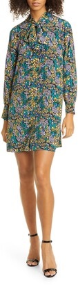 Tanya Taylor Faith Floral Long Sleeve Silk Shift Dress
