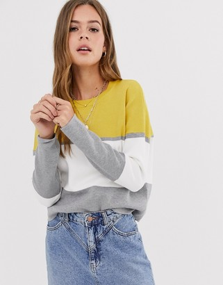 New Look block color sweater in yellow