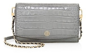 Tory Burch Robinson Croc-Embossed Leather Wallet-On-Chain