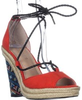 Charles David Charles Boston Lace Up Wedge Sandals, Fire/Multi, 6 US