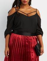 Charlotte Russe Plus Size Caged Cold Shoulder Top