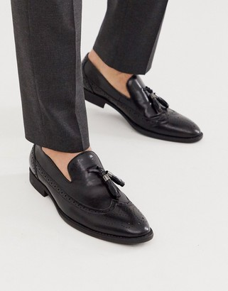 Asos Design DESIGN loafers in black faux leather with broguing detail
