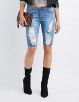 Charlotte Russe Machine Jeans Destroyed Denim Bermuda Shorts