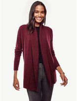Ann Taylor Petite Ribbed Trim Open Cardigan