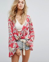 Billabong Wrap Front Top With Wide Sleeves In Floral