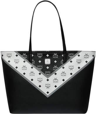 MCM Top Zip Shopper Visetos M Move Medium Black