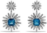 David Yurman Starburst Earrings with Diamonds and Hampton Blue Topaz in Silver