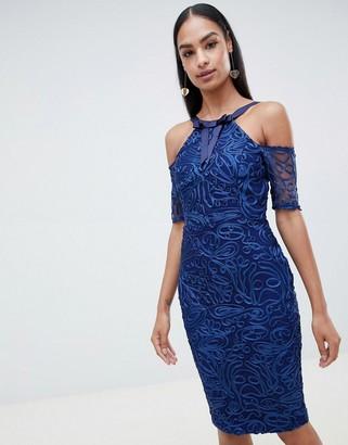 Vesper lace pencil dress with short sleeve-Blue