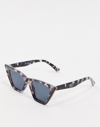 Cat Eye ASOS DESIGN square sunglasses with bevel detail in grey tort