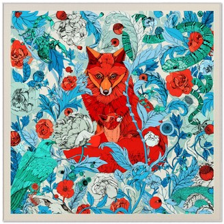 Pig, Chicken & Cow Two Foxes Teal Statement Scarf