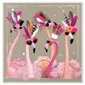 "Stupell Industries Fancy Pants Flamingos Wall Plaque Art 12"" L x 0.5"" W x 12"" H"
