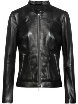 HUGO BOSS Regular Fit Biker Jacket In Lambskin With Stand Collar - Black