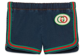 Gucci Baby denim shorts with InterlockingG